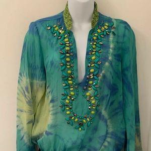 Hale Bob Cabana sheer silk tunic top shirt green